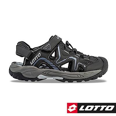 LOTTO 義大利 男 男 護趾排水運動涼鞋(黑)