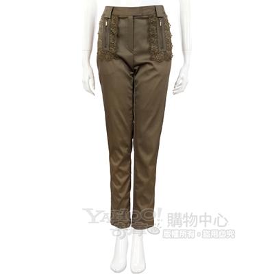 Lie Sang Bong 橄欖綠蕾絲拼接緞面款長褲