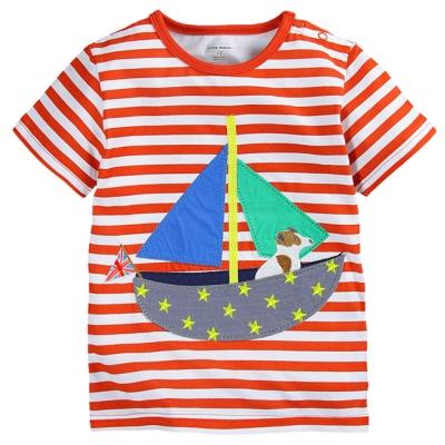 歐美風格設計 小童男童短棉T居家外出 帆船條紋  橘色