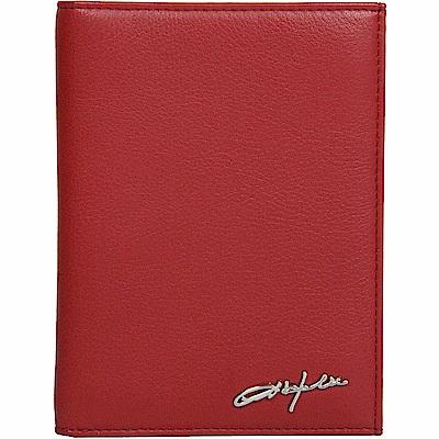 OBHOLIC 紅色牛皮護照夾證件套