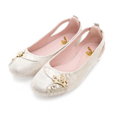 PLAYBOY 沁甜童話 優雅舞動鏤空娃娃鞋-金