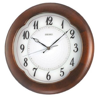 SEIKO 精工 木質外殼 恒動式秒針靜音掛鐘-圓形/33cm