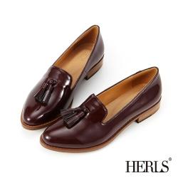 HERLS 內真皮 復古漆皮流蘇樂福鞋-酒紅色