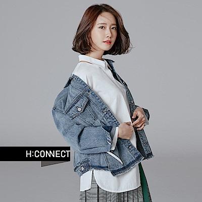 H:CONNECT 韓國品牌 女裝 - 領鏤空綁帶袖襯衫-白