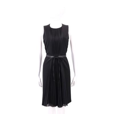 Max Mara 黑色百摺設計無袖洋裝(附腰帶)