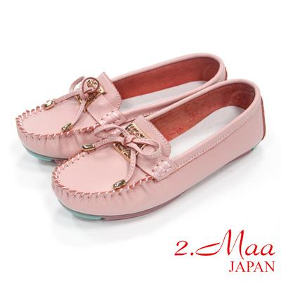 Hong Wa - 休閒蝴蝶結金屬飾釦莫卡辛鞋 - 粉