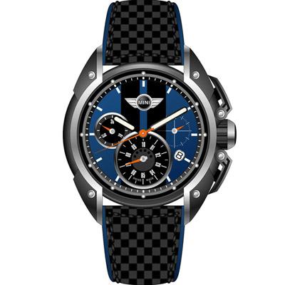 MINI Swiss Watches  極速時尚腕錶-黑x藍/45mm