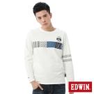 EDWIN 江戶勝 花圖長袖T恤-男-米白