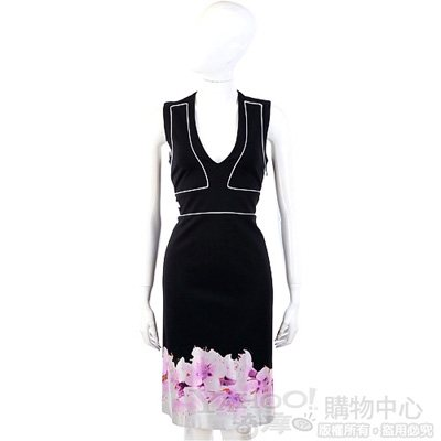 CLASS roberto cavalli 黑色印花綴飾無袖洋裝