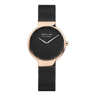 BERING-MAX RENE設計師聯名款 玫瑰金x黑 米蘭錶帶31mm