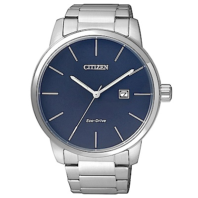 CITIZEN星辰 光動能簡單俐落男仕腕錶(BM6960-56L)-藍/43mm