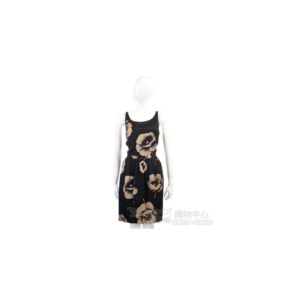 MOSCHINO 黑色花朵圖騰抓褶露背洋裝