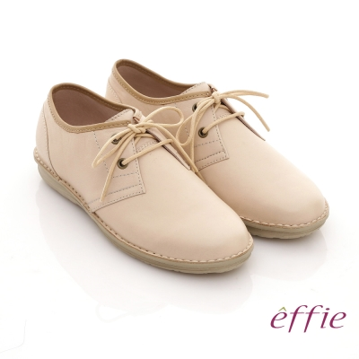effie 時尚輕量 全真皮縫線綁帶奈米平底鞋 杏 @ Y!購物