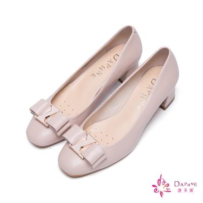 達芙妮DAPHNE 柔美經典蝴蝶結飾扣粗跟鞋-氣質粉紅