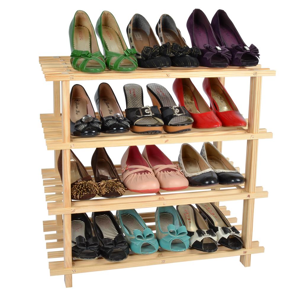 LIFECODE 極簡風 免螺絲黃松木四層鞋架 組合鞋架