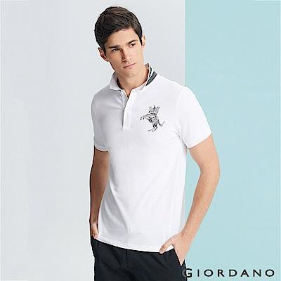 GIORDANO 男裝拿破崙立體刺繡彈力萊卡短袖POLO衫-09 標誌白