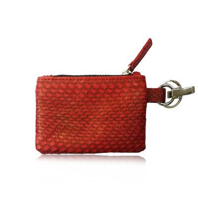 ACUBY 限量單品手工蛇皮鑰匙包/零錢包-璀璨紅