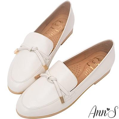 Ann'S知性文藝-雙結柔軟綿羊皮紳士平底鞋-米