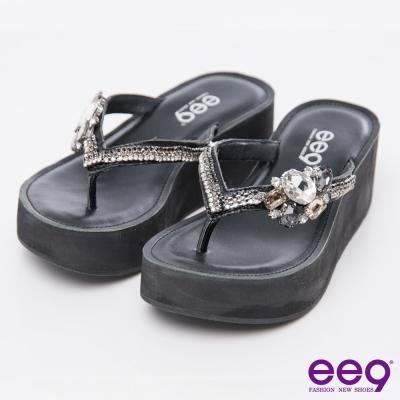 ee9璀璨迷人~-奢華鑲嵌五彩亮鑽T字楔型夾腳拖鞋*黑色