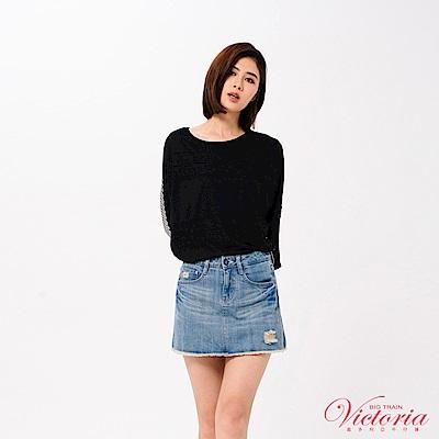 Victoria 蕾絲花邊剪接寬鬆七分袖T-女-黑色