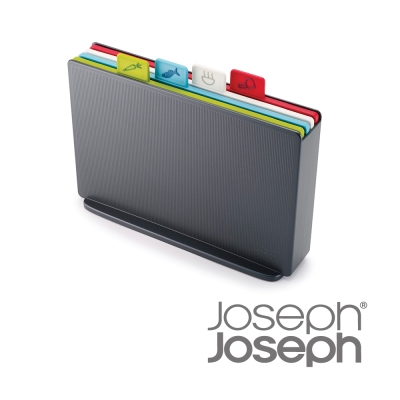 Joseph Joseph 檔案夾止滑砧板組-雙面附凹槽(小灰)