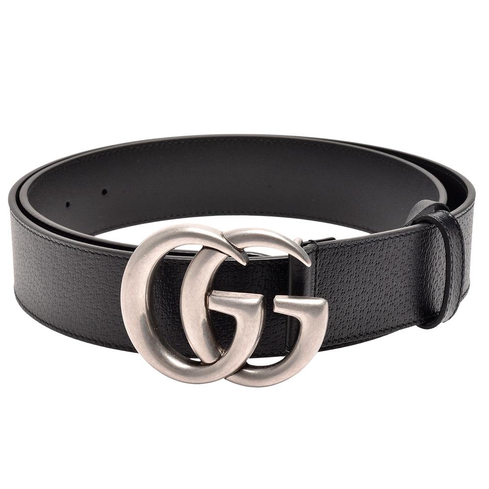 GUCCI 經典仿舊銀色金屬雙G LOGO牛皮釦式腰帶/皮帶(黑)