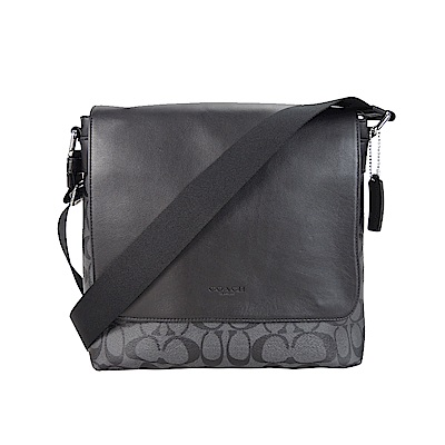 COACH 新款LOGO PVC翻蓋方形雙磁扣斜背包(黑灰)