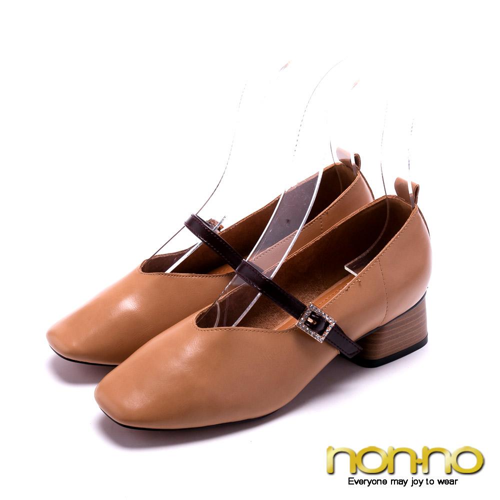 nonno 法式優雅 木紋低跟鞋-杏