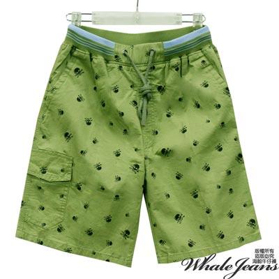 WHALE JEANS 男款悠閒注目骷顱頭印刷休閒短褲-2色