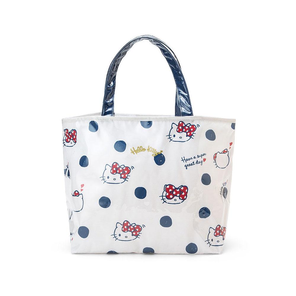 Sanrio HELLO KITTY輕量PVC*帆布手提袋(點點蝴蝶結)