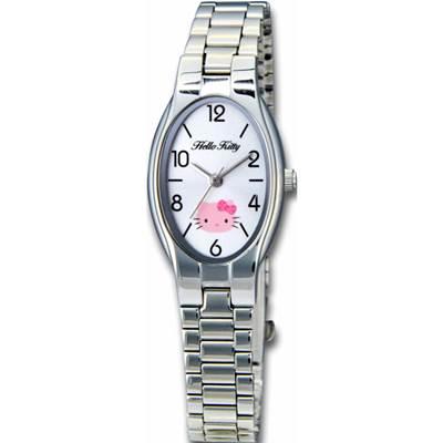 HELLO KITTY凱蒂貓橢圓氣質簡約時尚錶款 銀/白面/19mm