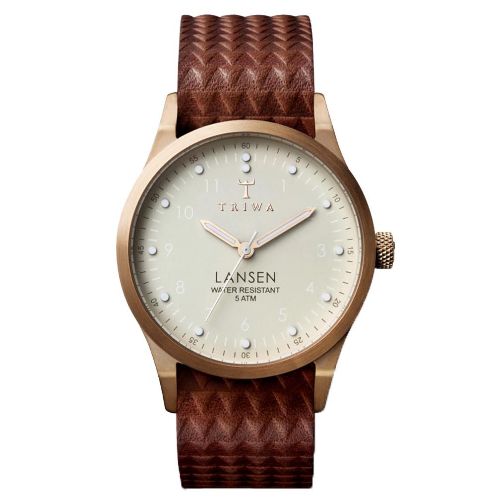 TRIWA LANSEN系列 北歐民俗風格時尚腕錶-玫瑰金X咖啡/37mm