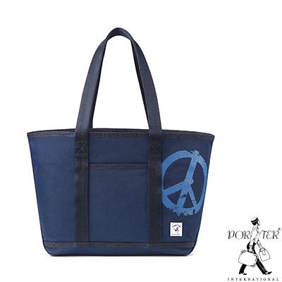 PORTER - 和平主義PEACE NO WAR小型休閒托特包 - 藍