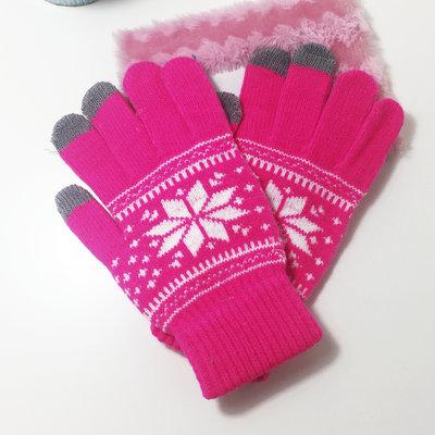 ACUBY 三指觸控雪花彩豔手套/玫紅