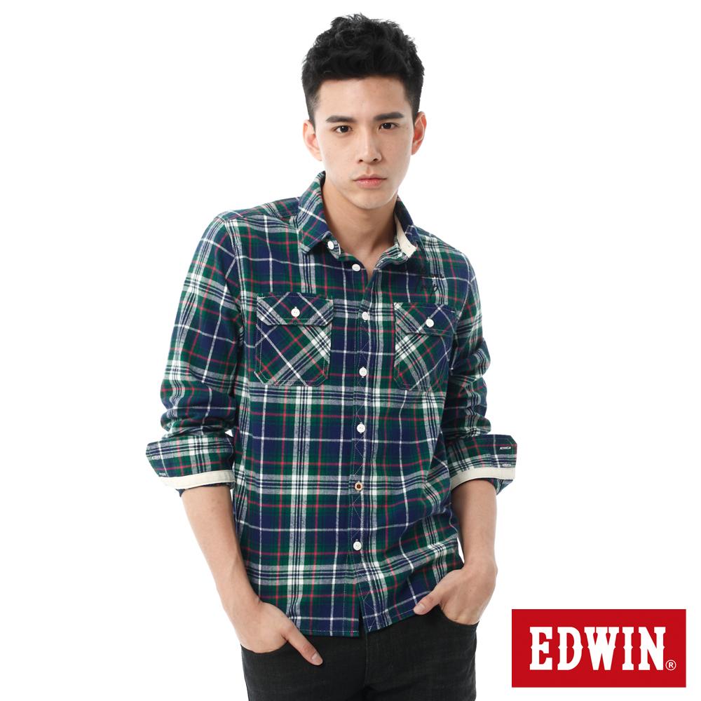 EDWIN 輕磨毛繡花格紋長袖襯衫-男-綠色格