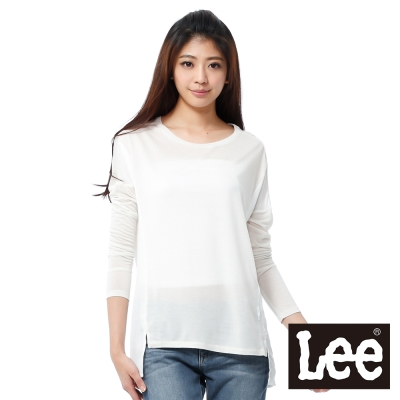 Lee 長袖T恤 紗布和棉布拼接 -女款(米白)