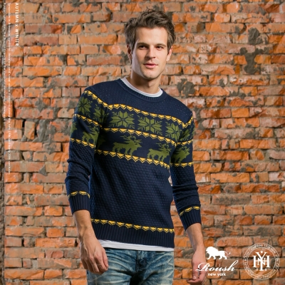 ROUSH 韓版雪花麋鹿設計針織衫 (2色)
