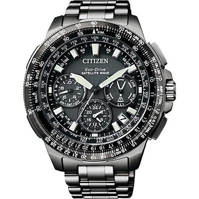 CITIZEN 光動能GPS衛星對時鈦金屬限量腕錶(CC9025-51E)-黑x47mm