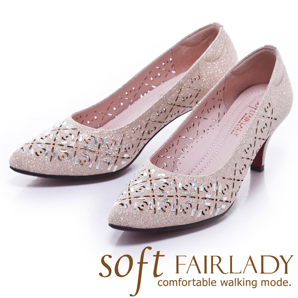 Fair Lady Sfot芯太軟 繽紛貼鑽雕花尖頭高跟鞋 香檳