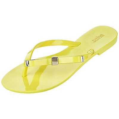Melissa 極簡金屬結飾夾腳鞋-檸檬黃
