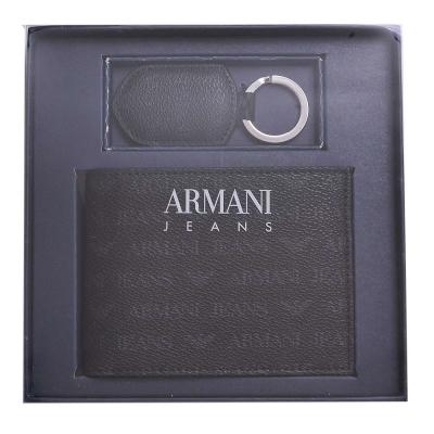 ARMANI JEANS 經典防刮壓紋品牌LOGO PVC四卡零錢短夾鑰匙圈禮盒組