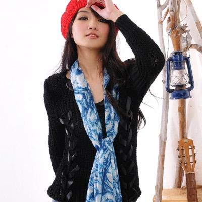 Aimee Toff 藝術夢幻質感染印圍巾(藍)