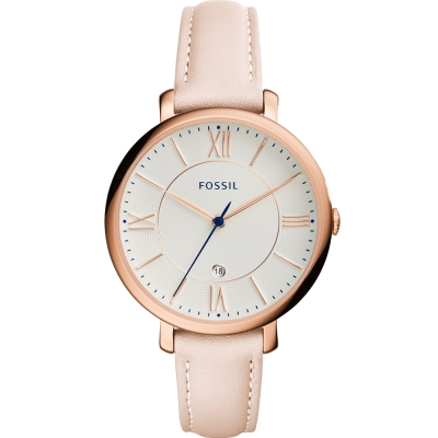 FOSSIL Jacqueline羅馬風尚優雅皮革手錶-白x膚/36mm