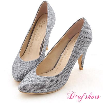D+AF 星星風潮‧金蔥閃料小V口尖頭高跟鞋*閃耀銀灰