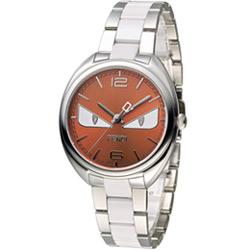 FENDI 芬迪 小怪獸系列時尚腕錶-橘/34mm