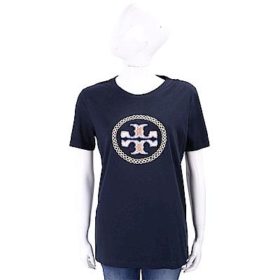 TORY BURCH MAYA 經典盾牌深藍棉質T恤