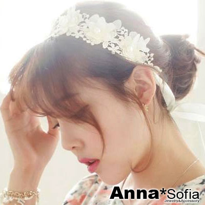 AnnaSofia-韓劇浪漫紗蕾花-新娘寬髮帶-米