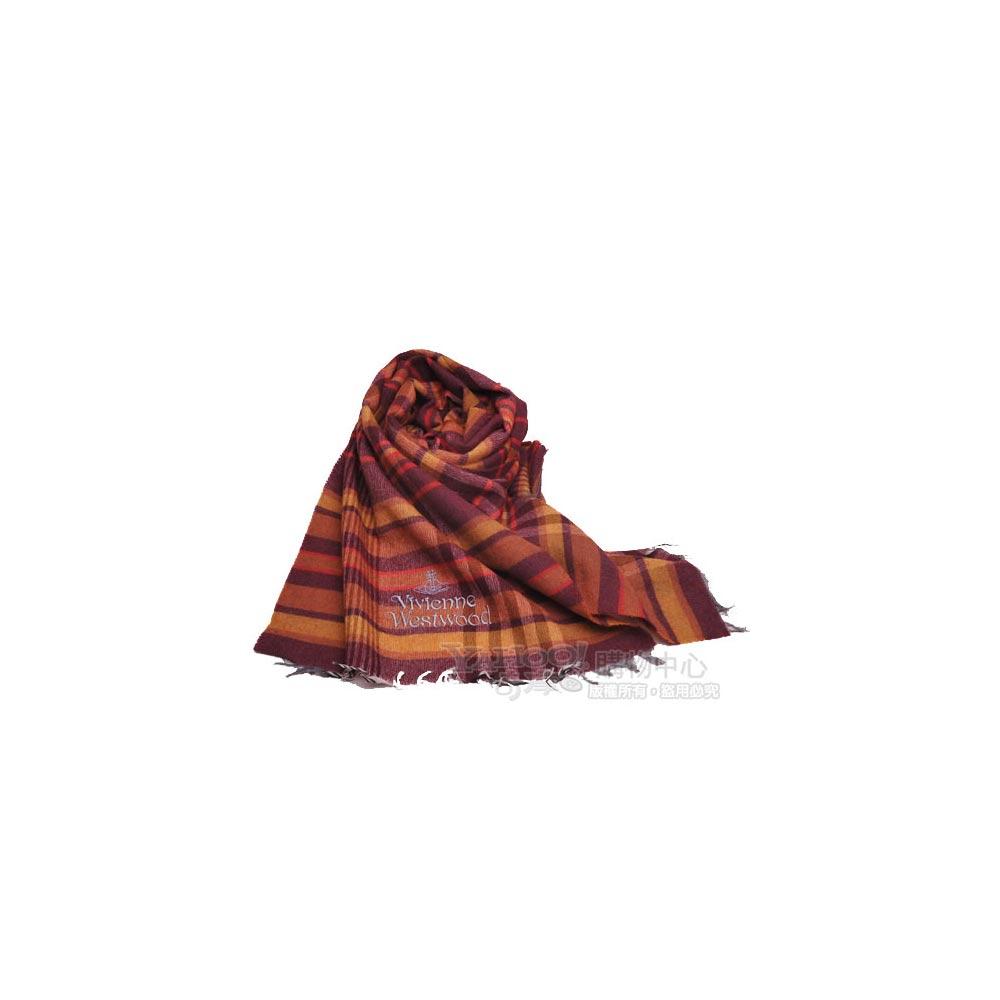 Vivienne Westwood 刺繡字母行星薄羊毛混棉格紋披肩圍巾(紫底黃格)