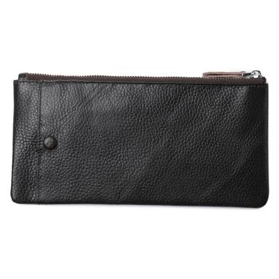 JINBAOLAI     GT1718BK牛皮大容量拉鍊手機包錢包  黑色