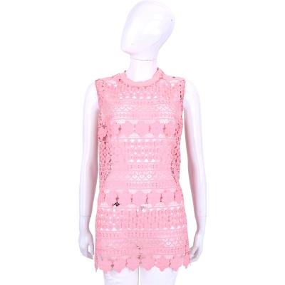 ERMANNO SCERVINO 粉色縷空織花無袖洋裝